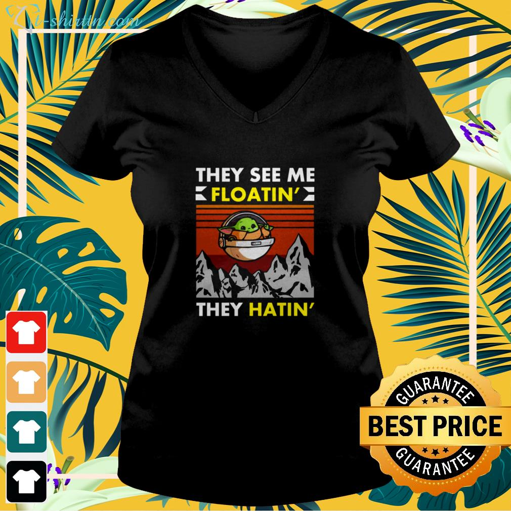 Baby Yoda they see me floatin' they hatin' vintage v-neck t-shirt