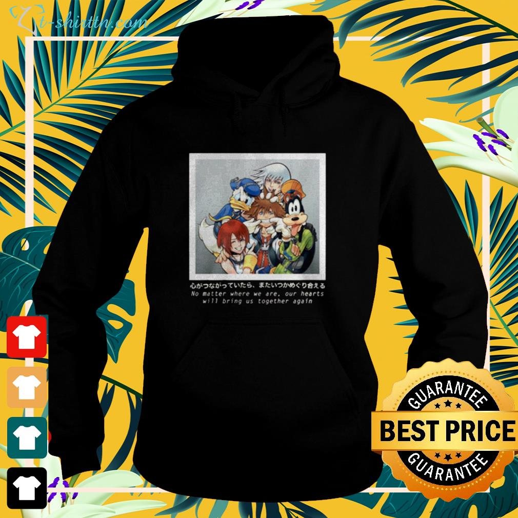 Cartoon no matter where we are our hearts hoodie