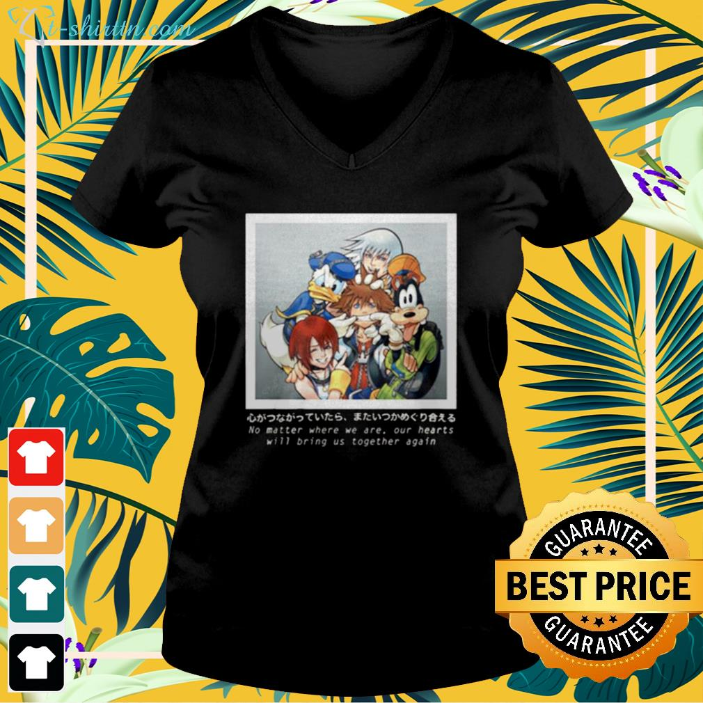Cartoon no matter where we are our hearts v-neck t-shirt