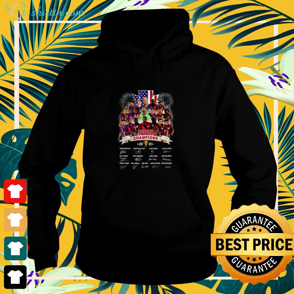 Concacaf Gold Cup USA Champion 2021 signatures hoodie
