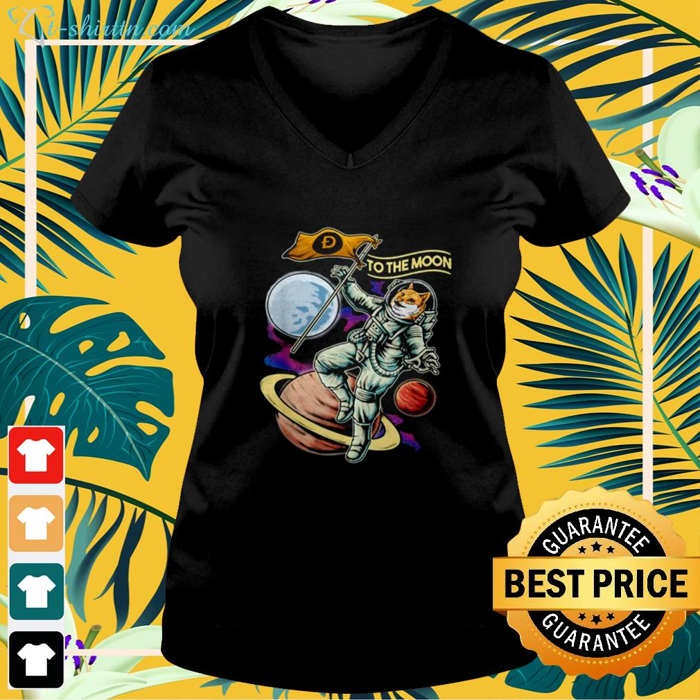 Doge coins crypto currency to the moon v-neck t-shirt