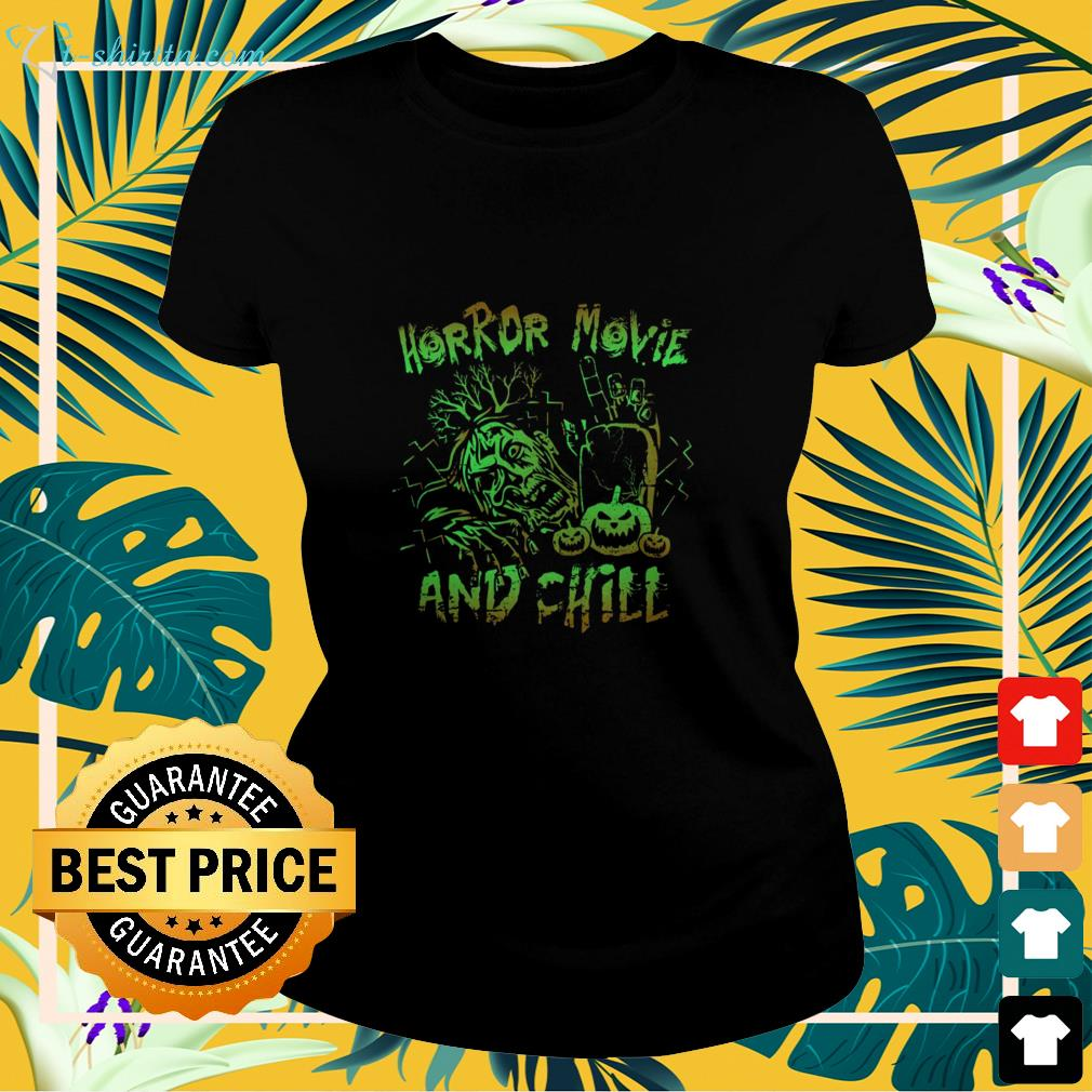 Horror movie and chill Halloween ladies-tee