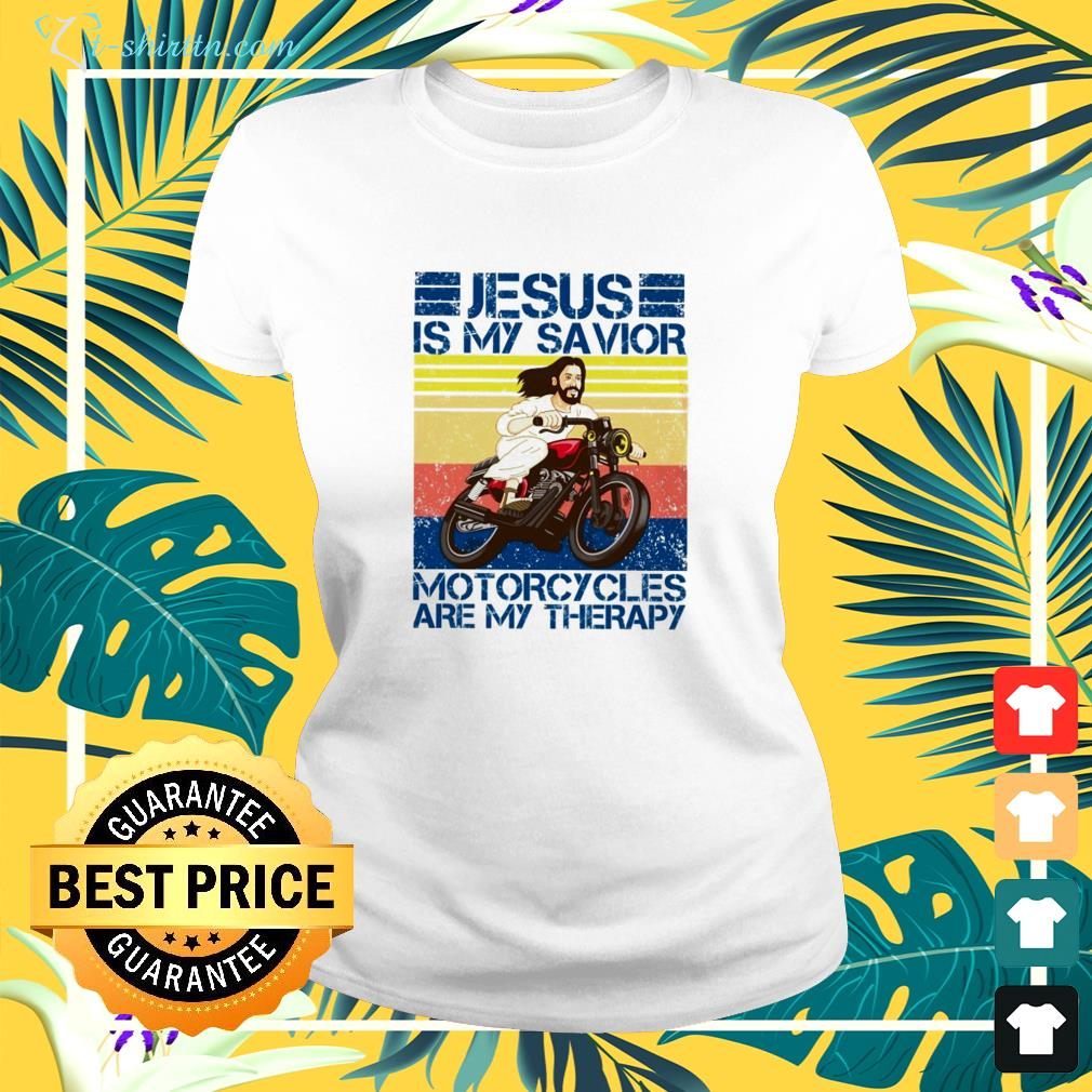 Jesus is my savior motorcycles are my therapy ladies-tee