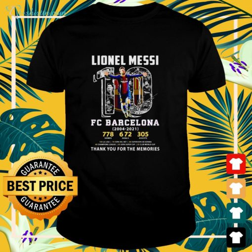 Lionel Messi #10 FC Barcelona 2004 2021 thank you for the memories shirt