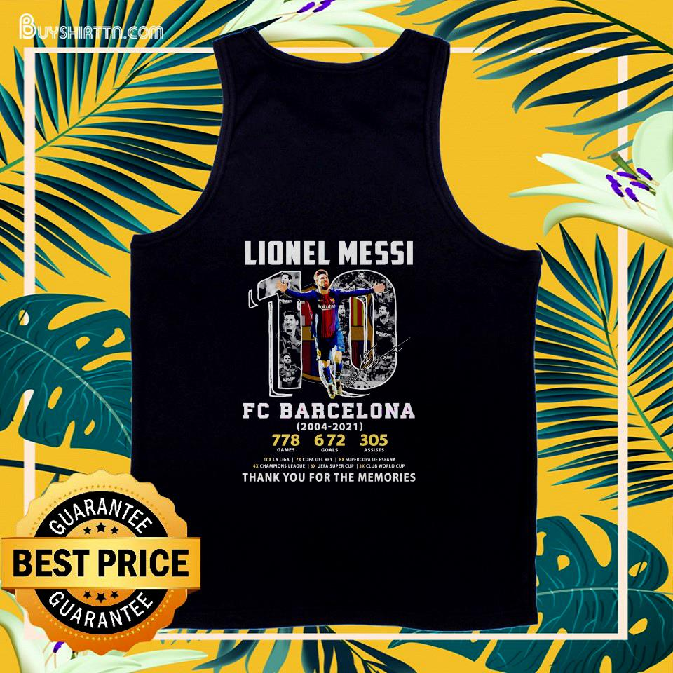 Lionel Messi #10 FC Barcelona 2004 2021 thank you for the memories tank top