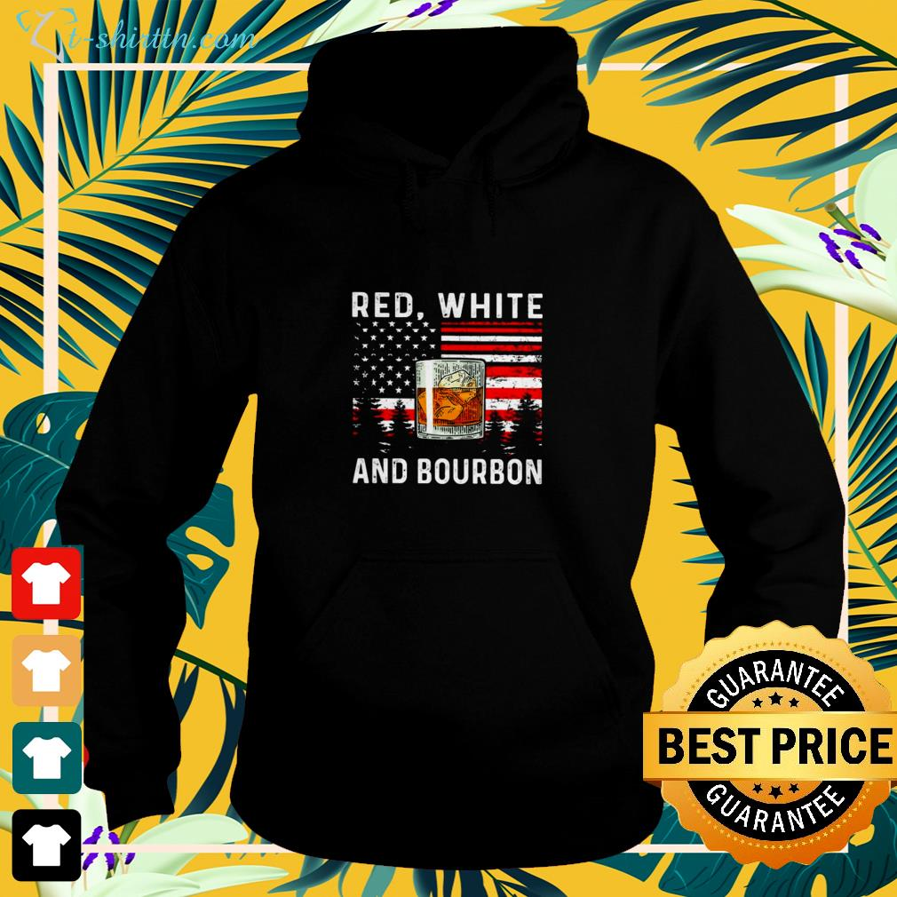 Red white and Bourbon American flag hoodie