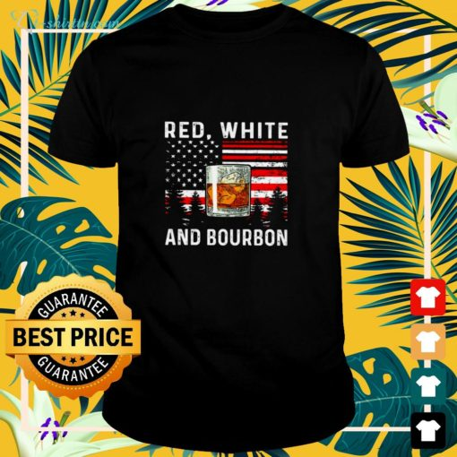 Red white and Bourbon American flag shirt