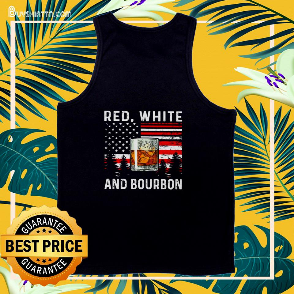 Red white and Bourbon American flag tank top