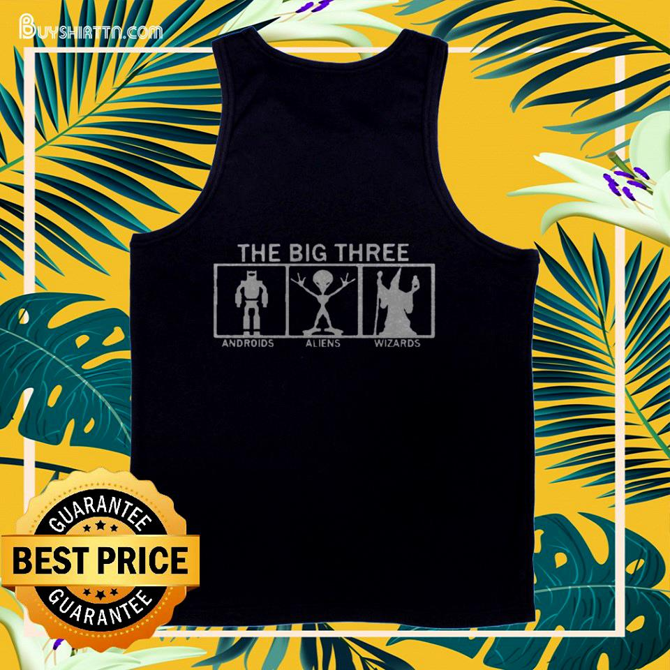 The big three Androids Aliens and Wizards tank top