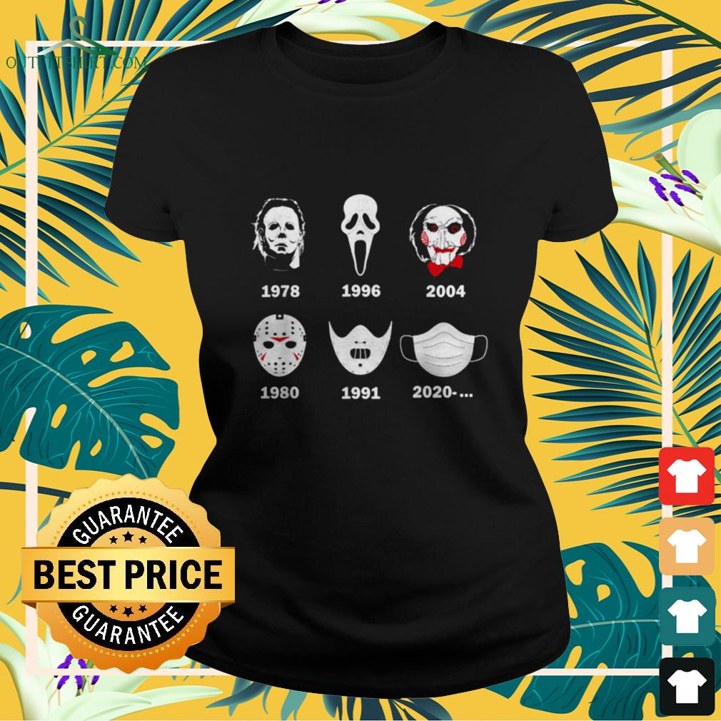 A history of horror masks Halloween horror characters ladies-tee