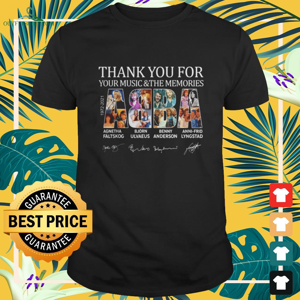 ABBA 1972-2021 thank you for your music and the memories signatures shirt