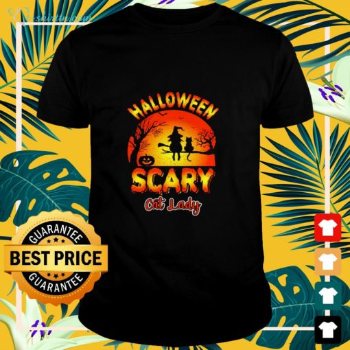 Halloween scary cat lady cat lover shirt