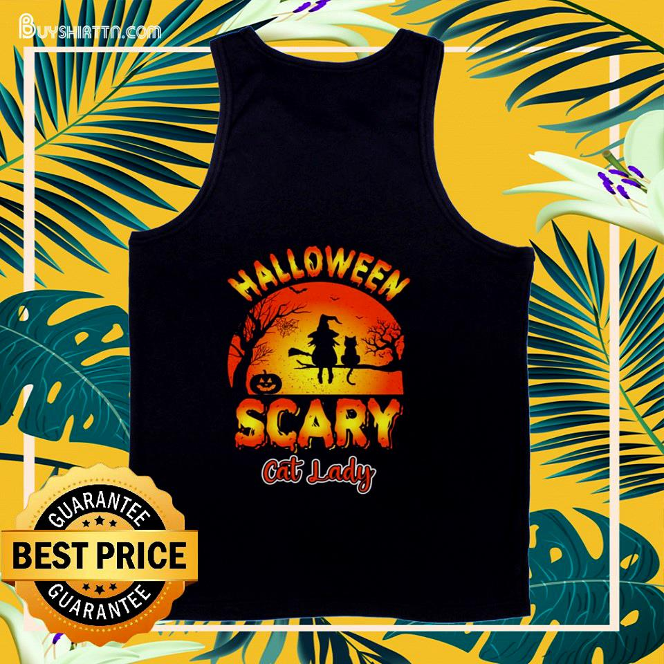 Halloween scary cat lady cat lover tank top