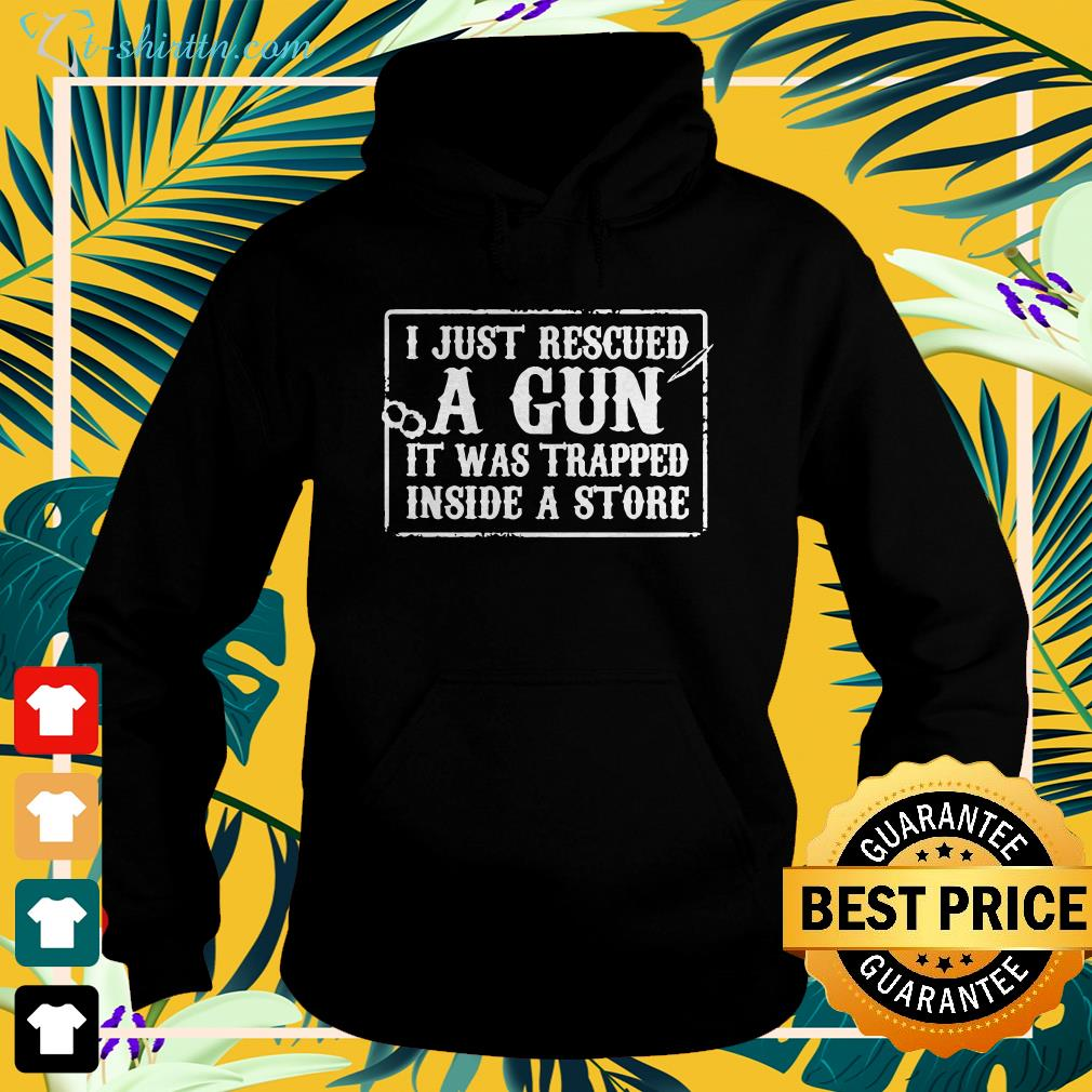 I just rescued a gun it was trapped inside a store shirt spread hoodie