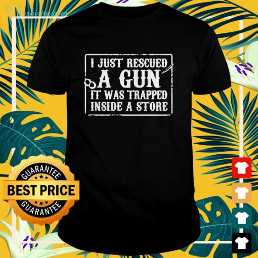 I just rescued a gun it was trapped inside a store shirt spread shirt