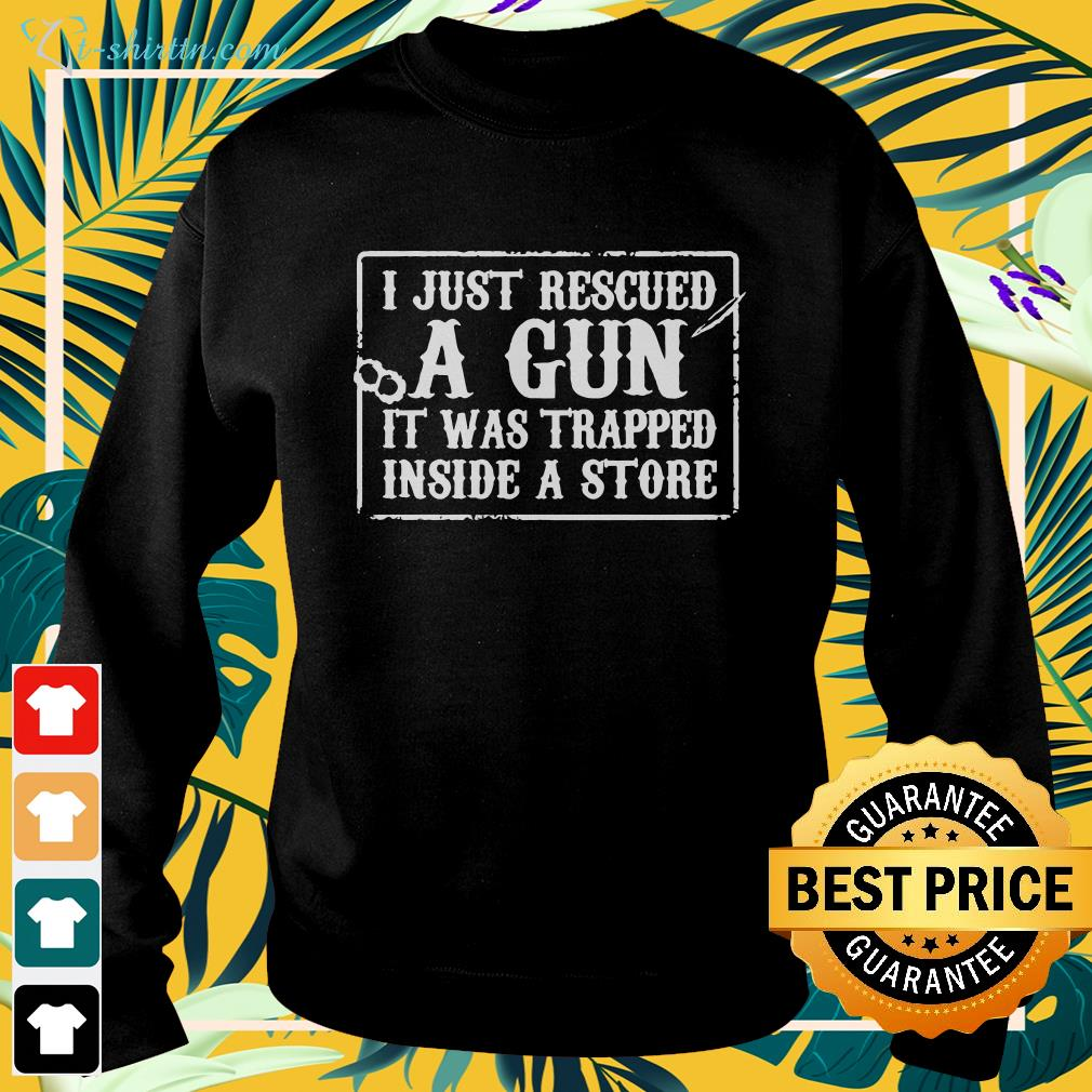 I just rescued a gun it was trapped inside a store shirt spread sweater