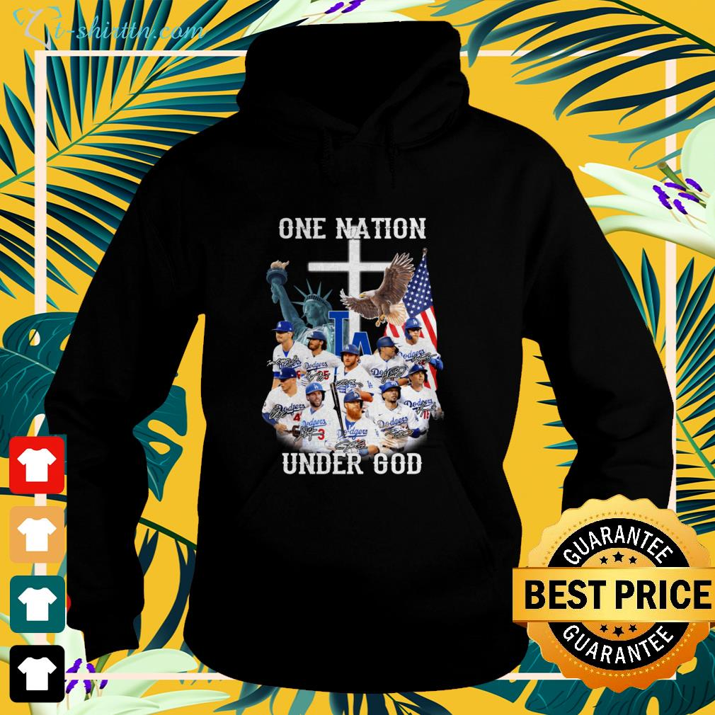 Los Angeles Dodgers one nation under god signatures hoodie