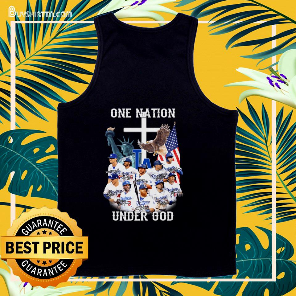 Los Angeles Dodgers one nation under god signatures tank top